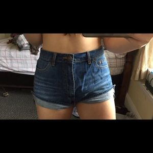 High Waisted Dark Denim Shorts ; Forever 21